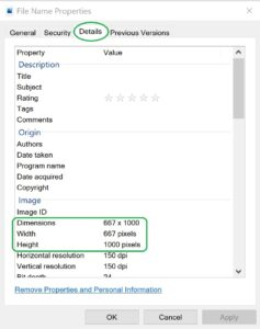Photo upload; right click and select properties to see a files dimensions