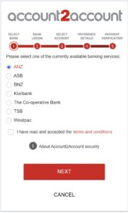 Paying for your ad on NZ Pleasures using Windcave. Windcave account to account portal, showing a list of New Zealand banks